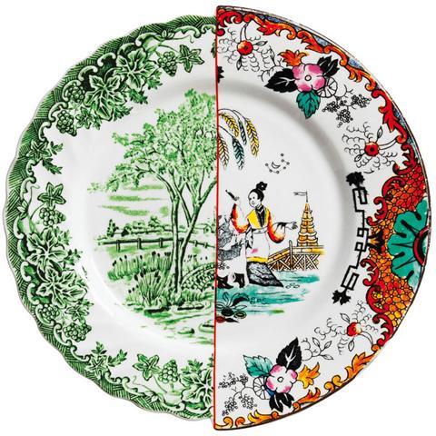 SELETTI Piatto Piano in Porcellana Bone China Decorata Diametro Cm. 27,5 Altezza Cm. 2,3 Ipazia - Linea Hybrid