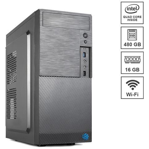 Image of Pc Desktop Assemblato Airo Plus Intel Celeron j4125 Quad Core 2.0 Ghz Ram DDR4 16 GB SSD 480 GB Wi-Fi 300 mbps Masterizzatore Windows 10 PRO