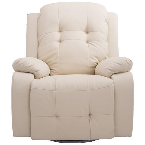 HomCom Poltrona Massaggiante Ergonomica 8 Punti Di Massaggio In Ecopelle, Crema
