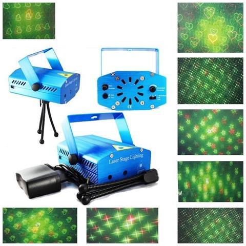 TAKESTOP Mini Proiettore Laser Luce Luci Per Disco Discoteca Portatile Mini Dj Verde Rosso Tempo Musica