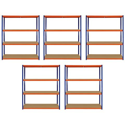 5 Scaffali In Acciaio Senza Bulloni S-rax Blu E Arancione 150cm X 50cm X 180cm