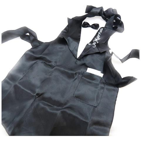 grembiule 'just married' + cravatta nera fiocco in raso - [ j0796]