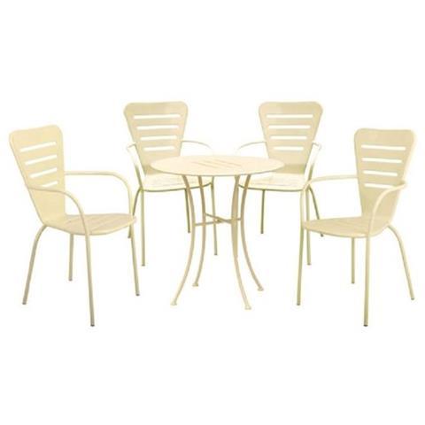 Set Pranzo Da Giardino In Acciaio Con Tavolo E Sedie