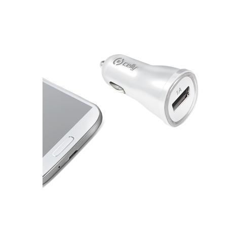 CELLY Caricabatteria da auto 12/24V con porta USB 1A - Bianco