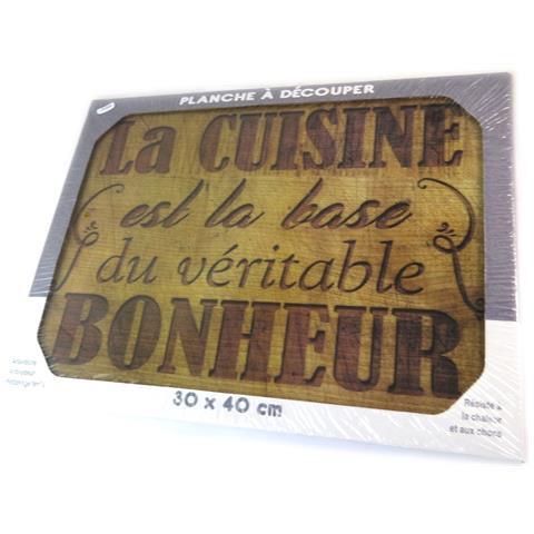 scheda di taglio / tavolo di vetro opaco 'citations' (base cucina della felicità) - 40x30 cm - [ p1048]