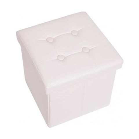 Mobili Rebecca Pouf Poggiapiedi Cubo Salvaspazio Bianco Ecopelle 38 X 38 X 38