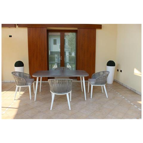 Set Tavolo Giardino 160 X 90 Con 4 Poltrone In Alluminio Bianco, Grigio Effetto Legno, Intreccio In Rattan Sintetico Per Esterno