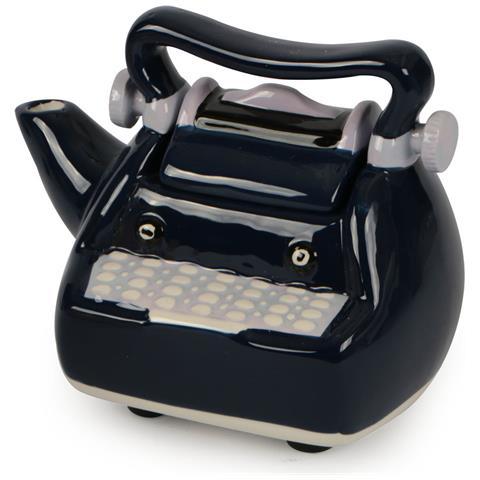 Teiera In Ceramica Con Coperchio Decorata Vintage A Forma Di Ferro Da Stiro Blu.