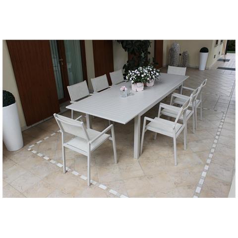 Set Tavolo Giardino Allungabile Rettangolare 220/280 X 100 Con 8 Poltrone In Alluminio Tortora Per Esterno