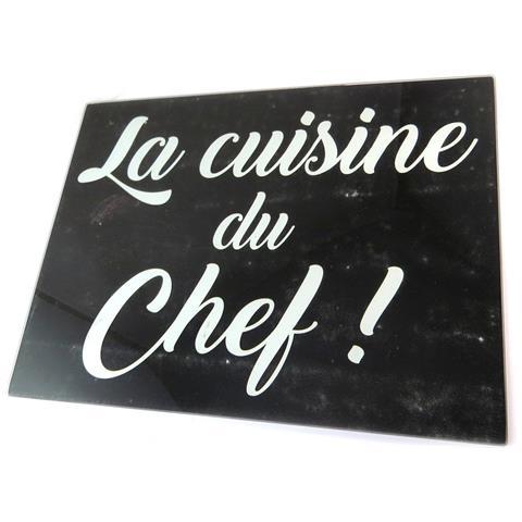 scheda di taglio / tavolo di vetro opaco 'citations' (il cuoco!) - 40x30 cm - [ p1047]