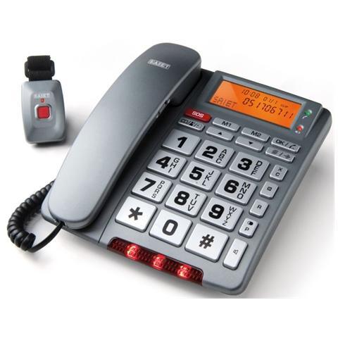 SAIET Telefono con Telecomando SOS 2 Tasti Personalizzabili Fissaggio alla Parete Family Telesos