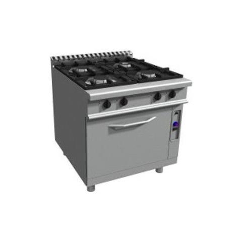Cucina 4 fuochi a gas su forno elettrico GN 2/1 - Dim. cm 90x90x85h