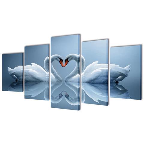 vidaXL 5 Pz Set Stampa Su Tela Da Muro Cigno 200 X 100 Cm