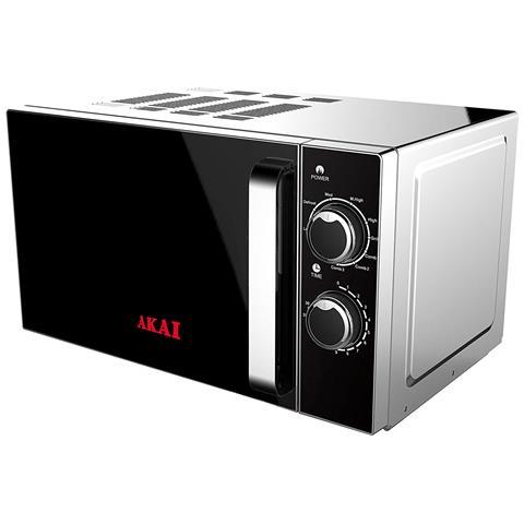 AKMW20 Forno Microonde con Grill Capacità 20 Litri Potenza 700 Watt Colore Nero / Argento
