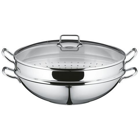 Macao Wok Con Cestello Per Cottura A Vapore, 36 Cm, 4 Pezzi