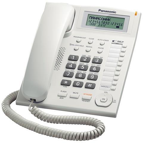 PANASONIC Telefono Domestico LCD con Batteria colore Bianco
