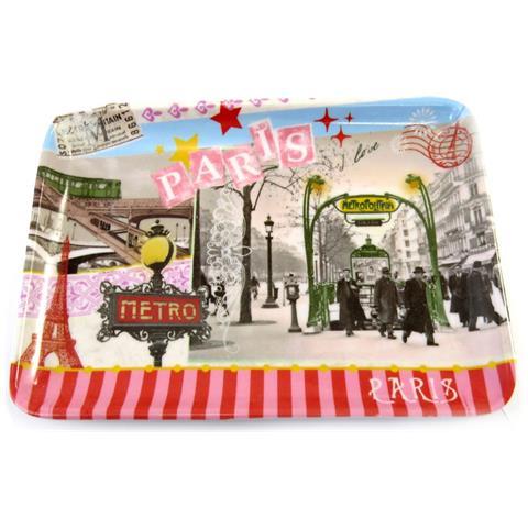 Les Trésors De Lily piccolo vassoio 'métro de paris' multicolor vintage (15x11 cm) - [ m4566]