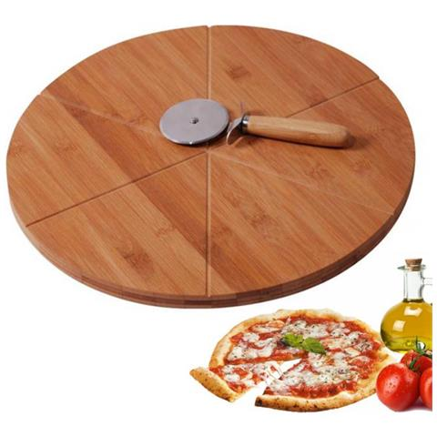 Set Pizza Piatto E Rotella Da Taglio In Bamboo Mk Venezia