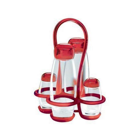 Set olio aceto sale pepe colore rosso trasparente collezione GOCCE