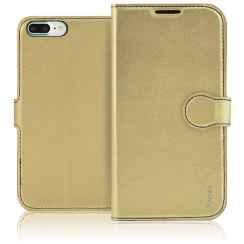 FONEX Identity Book Custodia a Libro per Apple iPhone 7 Plus Colore Oro