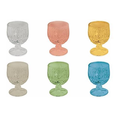 Amaretto Set 6 Bicchierini, Vetro, Multicolore, 7 X 4.5 X 4.5 Cm