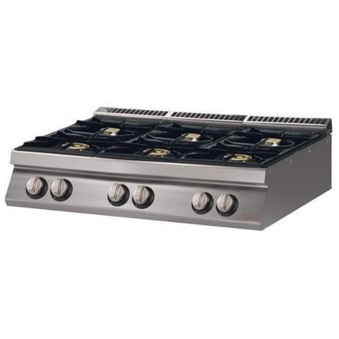 Cucina 6 Fuochi a gas top - Dim. cm. 120x70x27h