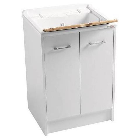 Lavapanni 60x50, vasca In Abs Metacrilato Lucido, asse In Legno, sifone Bianco Colavene