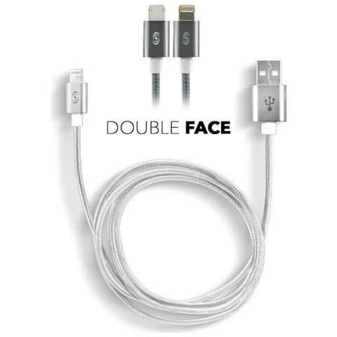 FONEX Cavo Dati / Caricatore USB 2 In 1 Reversibile per Lightning / Micro USB Colore Argento