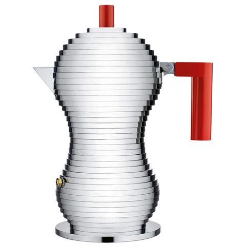 Caffettiera Espresso Pulcina Rosso 3 Tazza Alluminio Induzione