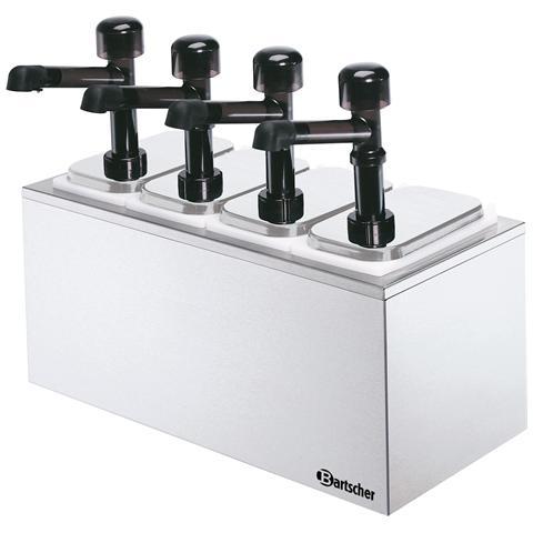 Dispenser salse a quattro pompa con contenitore 100324