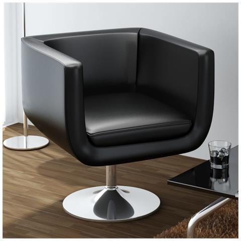 vidaXL Poltrona Design Bar Girevole In Pelle E Acciaio Nera