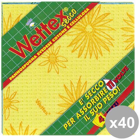 """Wettex Set 40 """"secco"""" Pannispugna X 4 Pezzi Attrezzi Pulizie"""