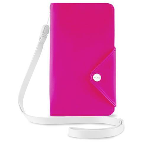 PURO Cust Resist Acqua Flip Oriz + 3 Vani Carta+tracolla Smartphone 5.7'' Fucsia