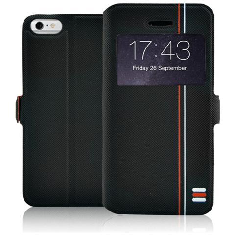 FONEX Tecno Book Custodia a Libro per iPhone 6 Plus / 6S Plus Bicolore Nero / Rosso