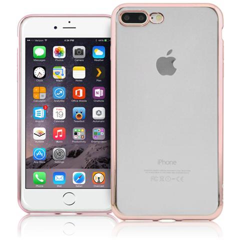 FONEX Sparkling Cover in Morbido TPU con Bordi ad Effetto Metalizzato per Apple iPhone 7 Plus Colore Trasparente / Oro rosa