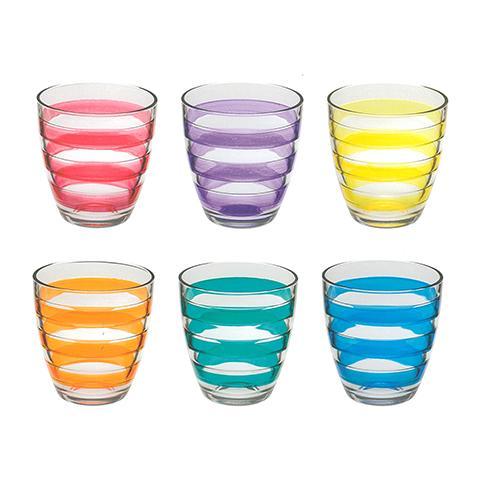 Confezione 6 Bicchieri In Vetro Helezon Assortiti 27