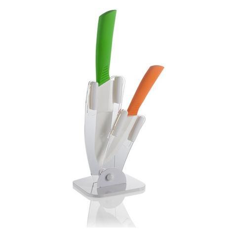 Ceppo Ventaglio Plex con 2 Coltelli Verde Arancio Ceramica TPR