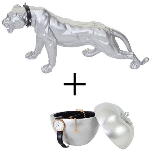 Set 2x Decorazioni Sculture Portagioie Mela E Soprammobile Leopardo Silver