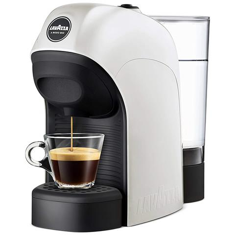 Macchina da Caffè Espresso Automatica Tiny Serbatoio 0.75 Lt. Potenza 1450 Watt Colore Bianco + 64 Capsule Qualità Rossa