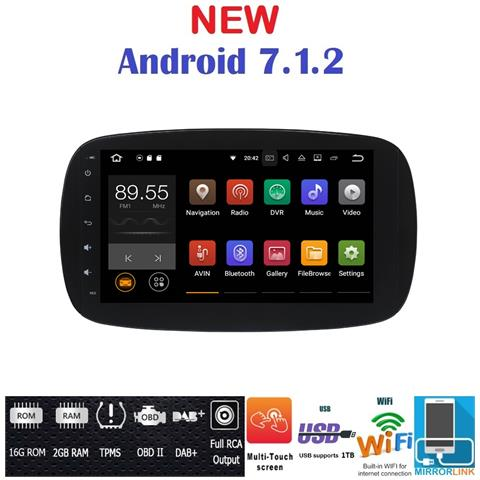 Image of Android 7.1 Gps Usb Wi-fi Bluetooth Autoradio Navigatore Smart Fortwo W453 2014, 2015, 2016, 2017