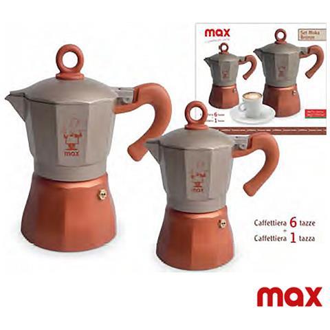 Caffettiera Moka Set 2 Pezzi Da 1 E 6 Tazze Linea Bronzo Silver Max Idea Regalo