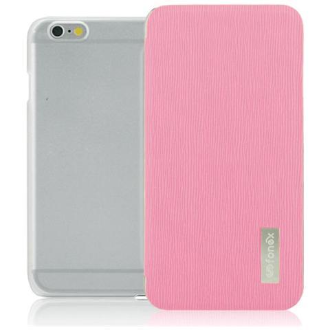 FONEX Crystal Slim Custodia a Libro con Back Trasparente per iPhone 6/6S Colore Rosa