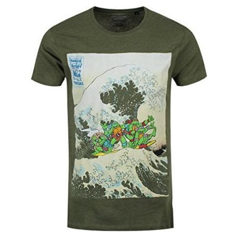 BIOWORLD Teenage Mutant Ninja Turtles - Green Surfing (T-Shirt Unisex Tg. M)