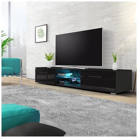 Image of Edith - Mobile Porta Tv / Supporto Tv A Schermo Piatto (140 Cm, Nero Opaco / Nero Lucido Con Luci Led Blu)
