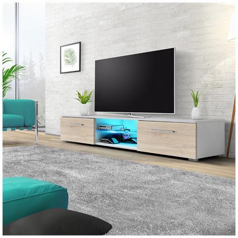 Image of Edith - Mobile Porta Tv / Supporto Tv A Schermo Piatto (140 Cm, Bianco Opaco / Quercia Sonoma Con Luci Led Blu)