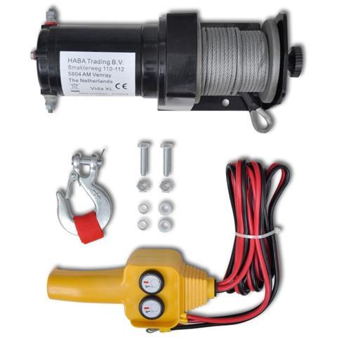 Verricello Elettrico 12 V 907 Kg Telecomando A Filo