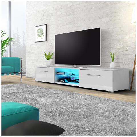Image of Edith - Mobile Porta Tv / Supporto Tv A Schermo Piatto (140 Cm, Bianco Opaco / Bianco Lucido Con Luci Led Blu)