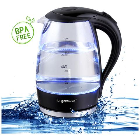 Bollitore D'acqua In Vetro Borosilicato Con Illuminazione A Led. 2200w Capacità 1.7l