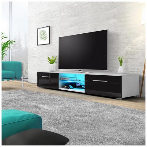 Image of Edith - Mobile Porta Tv / Supporto Tv A Schermo Piatto (140 Cm, Bianco Opaco / Nero Lucido Con Luci Led Blu)