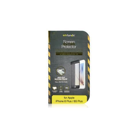 FONEX Vetro Temperato 3D con Bordi in Silicone Protezione Schermo per iPhone 6 Plus / 6S Plus (1Pz) Colore Nero